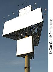 青, 大きい, 広告板, 空