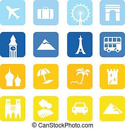 青, &, 大きい, 旅行 アイコン, -, コレクション, 黄色, ランドマーク
