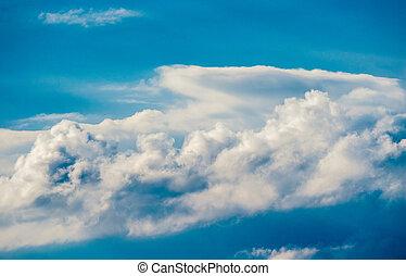 青, 大きい, 白い雲, 空