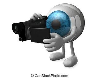 青, 大きい, 目, videomaker