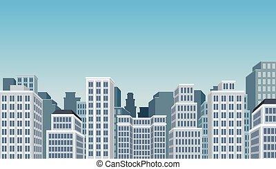 青, 大きい, 風景, 都市
