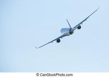 青, 大きい, 飛行機, sky.