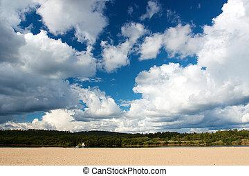 青, 大きい, ivalo, 雲, 空