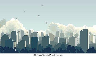 青, 大きい, tone., 都市
