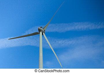 青, 大きい, windturbine, 空