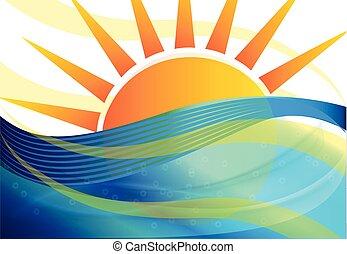 青, 太陽の背景, 波