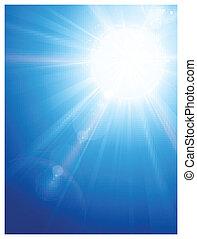 青, 太陽, レンズ, 空, 火炎信号