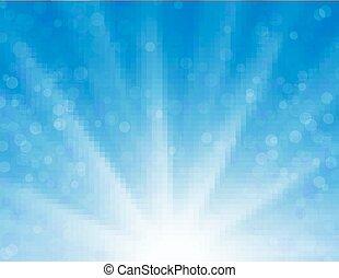青, 太陽, 上に, 空, ベクトル, 背景, 光沢がある