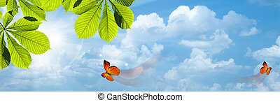 青, 太陽, 抽象的, 背景, 明るい空, butterfly.