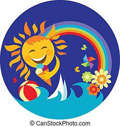 青, 太陽, 氷, 保有物, 幸せ, クリーム