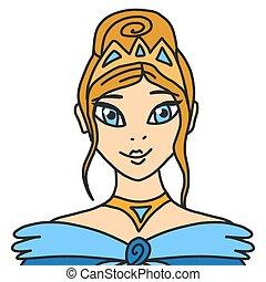 青, 女の子, 女王, かわいい, ブロンド, crown., ベクトル, 王冠, princess., 顔, 長い間, 服, eyes., 若い, イラスト, 毛, 王女, シック
