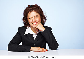 青, 女性ビジネス, イメージ, に対して, 背景, 幸せに微笑する