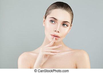 青, 女, バックグラウンド。, 考え, 健康, 皮膚, エステ, モデル, 女の子
