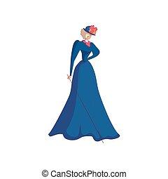 青, 女, バックグラウンド。, 長い間, 優雅である, ベクトル, イラスト, hat., 白いドレス, gray-haired