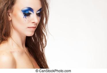 青, 女, 美しさ, 構成しなさい, ファンタジー, 肖像画