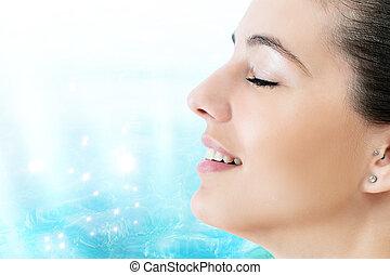 青, 女, 美しさ, 瞑想する, に対して, 水, 肖像画