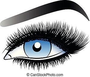 青, 女, 虚偽である, lashes., 長い間, 目