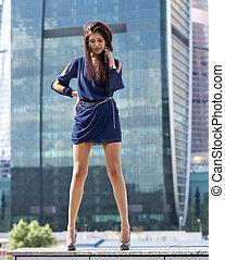 青, 女, 超高層ビル, 伸張, セクシー, 服