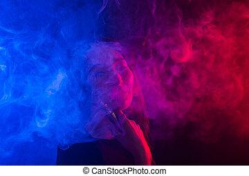 青, 女, e-cigarettes, vape, ネオン, 若い, 煙, 肖像画, ∥あるいは∥, 赤