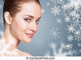 青, 女, snowflakes., 上に, backgroud, 若い