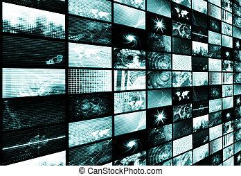 青, 媒体, 抽象的, 未来派, 背景