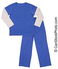 青, 子供, 白, 隔離された, pajamas.