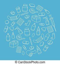 青, 子供, 色, パターン, 隔離された, イラスト, 手, 装置, 形, セット, 背景, 薬, 白, デッサンの円