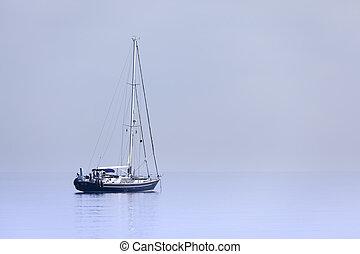 青, 孤独, ヨット, 冷静, 海