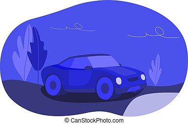 青, 孤独, 有色人種, 自動車, 夜, 空, road.