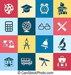 青, 学校, ベクトル, 緑, デジタル, 赤
