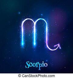 青, 宇宙, シンボル, ネオン, 黄道帯, 照ること