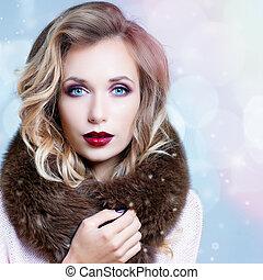 青, 完全, 女, 毛皮, 冬, 美しさ, coat., 構造, キツネ, 付属品, 美しい, ファッション, 贅沢, モデル, 女性, 女の子, hairstyle.