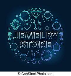 青, 宝石類, イラスト, 暗い, ベクトル, 背景, ラウンド, 店