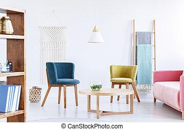 青, 実質, 写真, 部屋, 暮らし, lamp., 現代, ソファー, ピンク, 緑, 肘掛け椅子, 内部, 白