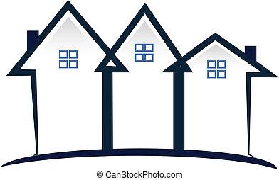 青, 家, 不動産, ロゴ