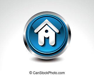 青, 家, 抽象的, グロッシー, ボタン