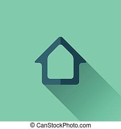 青, 家, icon., デザイン, 平ら