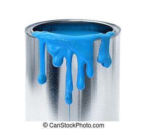 青, 容器, したたり落ちているペイント, ブリキ缶, 背景, 厚く, 白