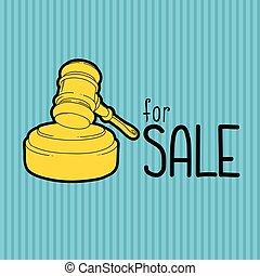 青, 小槌, 金, バックグラウンド。, 色, 大きい, auctioneer., -, セール, イラスト, advertisement., 裁判官, ハンマー, ∥あるいは∥