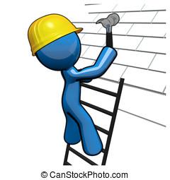 青, 屋根職人, 仕事, 屋根, 専門家, 人, 3d
