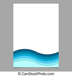 青, 層, 波状, フライヤ, ポスター, -, イラスト, ベクトル, テンプレート, しまのある, ページ