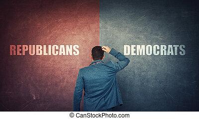 青, 左, 赤, elections., 正しい, 選択, 決定, concept., 分裂, 壁, 民主主義者, 未来, ビジネスマン, ∥あるいは∥, 大統領である, 困難, ∥対∥, 疑い, 困惑させる, ∥対∥, sides., right., 共和党員