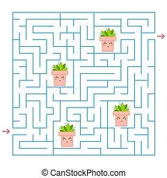 青, 平ら, すべて, 広場, illustration., labyrinth., 単純である, 興味を起こさせること, ポット, ベクトル, 集めなさい, ゲーム, 花, 方法, children., maze., ファインド, から
