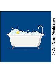 青, 平ら, スタイル, 中, 泡, 隔離された, イラスト, 浴室, ゴム, バックグラウンド。, ベクトル, 黄色...