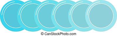 青, 平ら, セット, きれいにしなさい, dishware, vector., 小さい, プレート, 受皿, ボーダー...