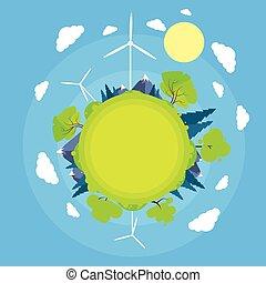 青, 平ら, タワー, 太陽, エネルギー, 空, 緑, 円, 草, 技術, タービン, 風