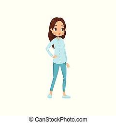青, 平ら, ブルネット, ワイシャツ, 大きい, 若い, ベクトル, 情報, outfit., jeans., デザイン, ティーネージャー, eyes., 流行, 女の子, 光沢がある, 偶然