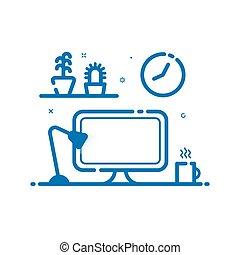 青, 平ら, ベクトル, 線である, ランプ, イラスト, flowers., コンピュータ, 机, 線, style., アイコン