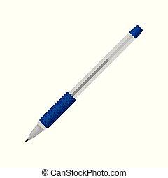 青, 平ら, ボールペン, オフィス, クラシック, drawing., 学校, 執筆, 装置, 主題, ベクトル, pen., 供給, アイコン