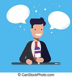 青, 平ら, マイクロフォン, 彼の, 上に, 隔離された, バックグラウンド。, スピーチ, ビジネスマン, head., 泡, illusration, 漫画, 話すこと